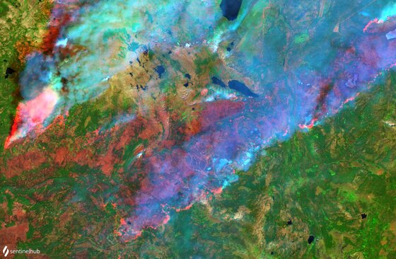 Sentinel-2 L2A image on 2021-09-01 if South Lake Tahoe Caldor Fire
